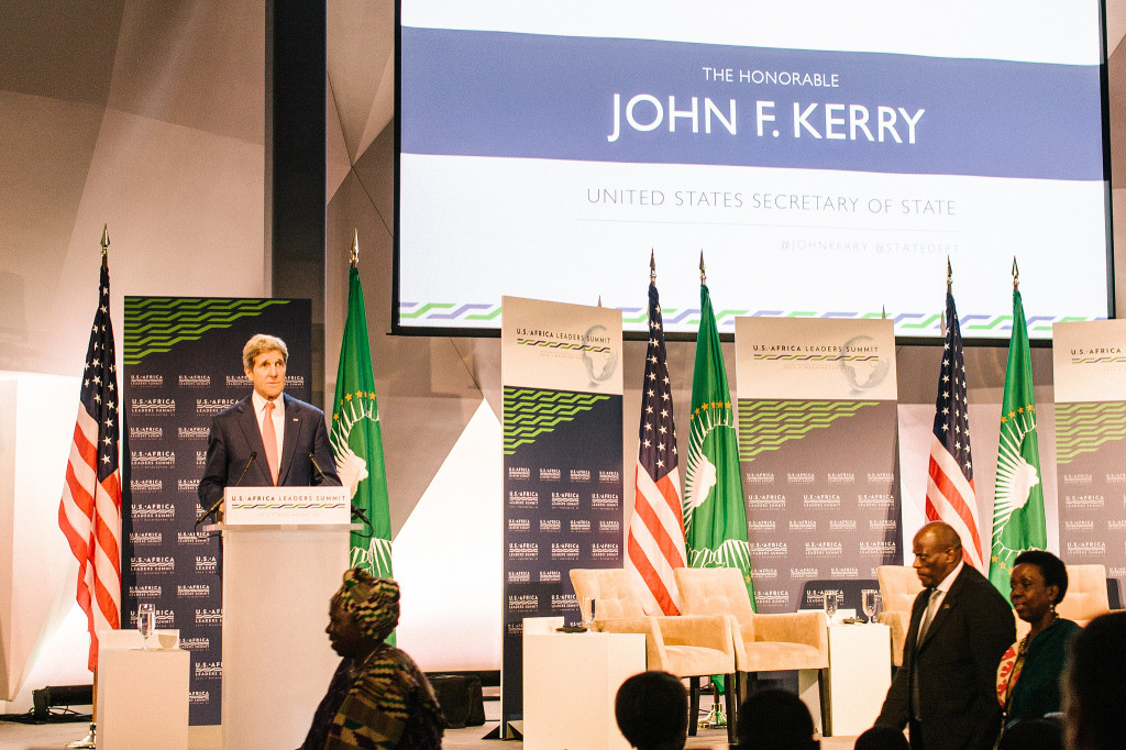 John. F. Kerry at the podium. Photo from the U.S - Africa Leaders Summit. Photo: R. Hohmann (USAID)